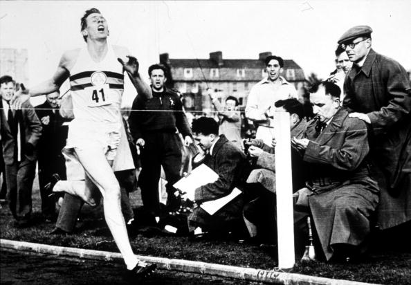 6 May 1954: Roger Bannister breaks the 4 Minute Mile in 3 Minutes 59.4 Seconds. Mandatory Credit: Allsport UK/Getty Images